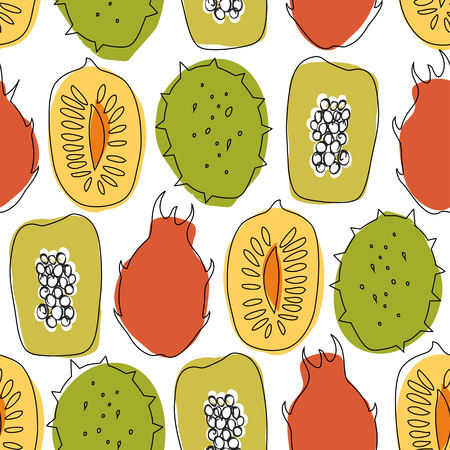 Seamless pattern with tropical exotic fruits, mango, papaya, durian, carambola, vector drawn background