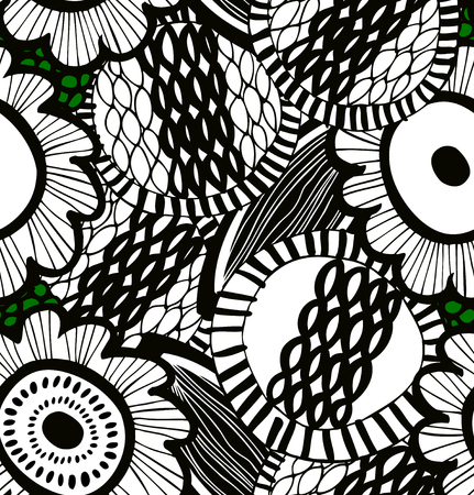 Vector messy seamless decorative floral pattern. Abstract drawn background. Summer expressive texture