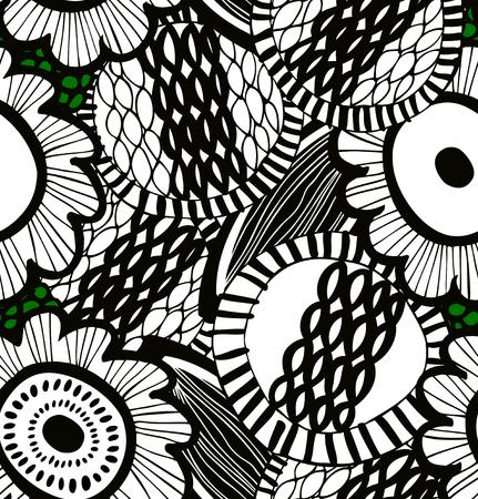 Vector slordig naadloos decoratief bloemenpatroon. Abstract getrokken achtergrond. Zomer expressieve textuur Stock Illustratie