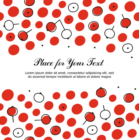 Seamless pattern with rowan berries. Decorative floral background. Autumn texture in scandinavian style Illustration