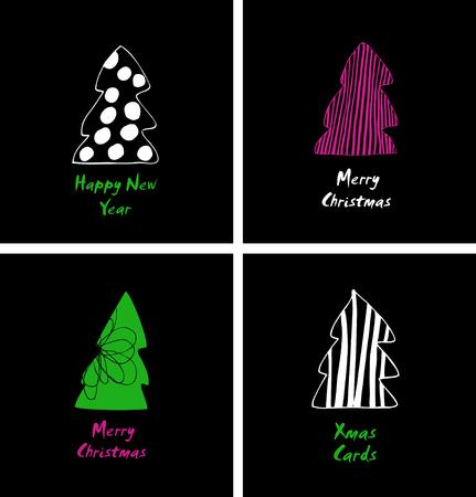 Kerstkaarten instellen. Decoratief cartoonontwerp met modieuze sparren, sparren. Gelukkig nieuwjaarsontwerp