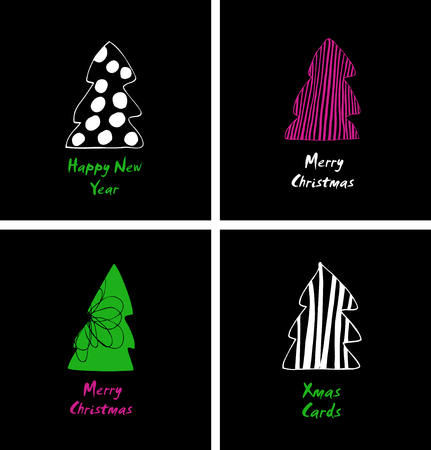 Christmas cards set. Decorative cartoon design with stylish spruces, fir-trees. Happy new year design