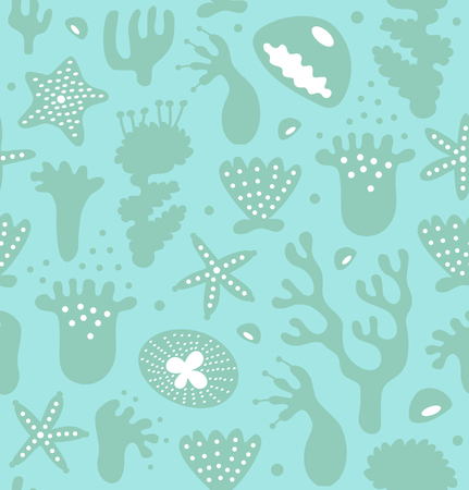 Coral reefs seamless pattern, decorative monochrome background, vector nautic texture, sealife Ilustração