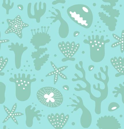 Koraalriffen naadloze patroon, decoratieve monochrome achtergrond, vector Nautische textuur, Sealife