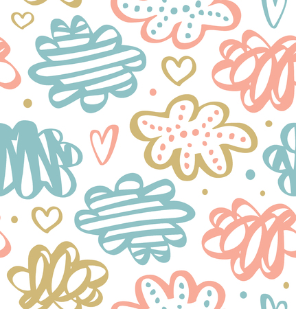 Cute drawn pattern with clouds in pastel colors. Vector drawn texture Illustration