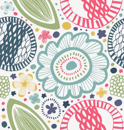 Getrokken grafisch patroon in landelijke stijl. Abstracte achtergrond met gestileerde bloemen