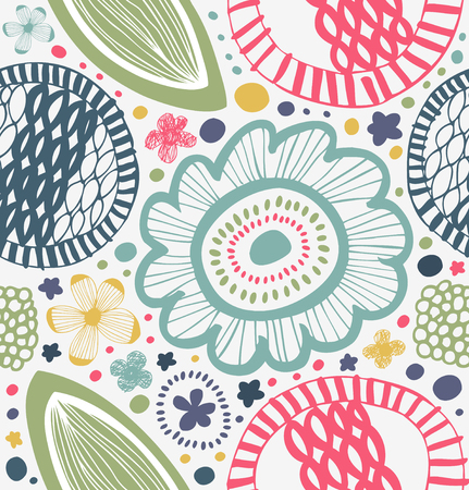 Drawn graphic pattern in rural style. Abstract background with stylized flowers