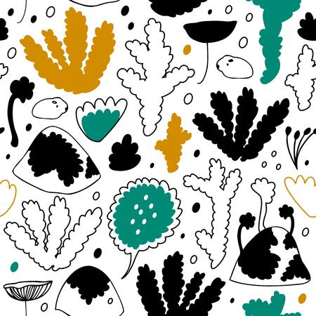 Noords bos, Skandinavisch naadloos vectorpatroon. Decoratieve achtergrond met bloemenelementen