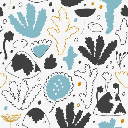 messy clothes: Nordic winter forest, scandinavian seamless vector pattern. Decorative cosiness background Illustration