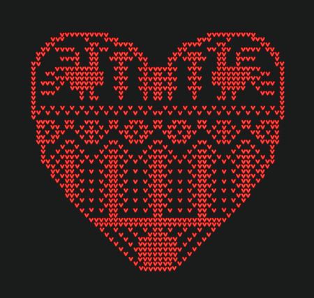 Schema voor breien, geometrische sjabloon met gestileerde hart in landelijke stijl. Vectorbeeldverhaal voor borduurwerk, het breien. Valentijnsdag