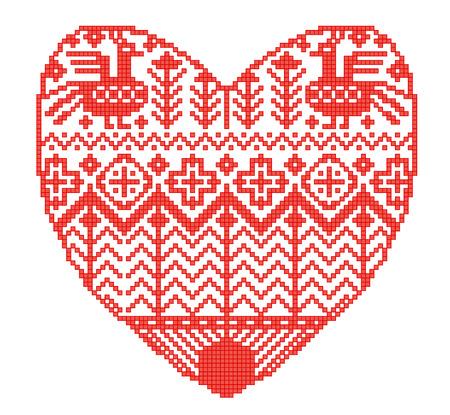 Schema voor breien. Naadloos geometrisch malplaatje met decoratief hart in landelijke stijl. Vectorbeeldverhaal voor borduurwerk, het breien