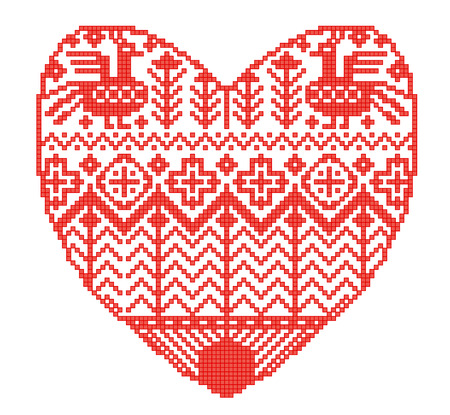 Scheme for knitting. Seamless geometric template with decorative heart in rural style. Vector cartoon for embroidery, knitting