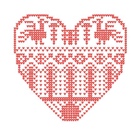 Schema voor breien. Naadloos geometrisch patroon met gestileerd hart in landelijke stijl. Vector cartoon voor borduurwerk