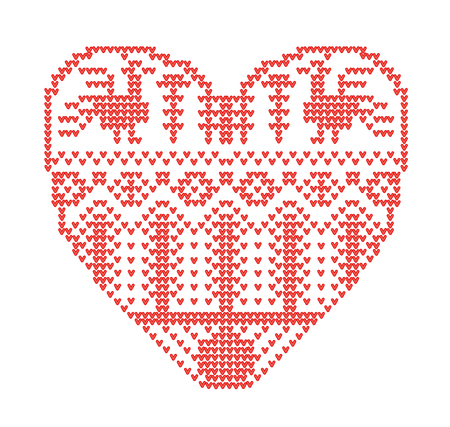Scheme for knitting. Seamless geometric pattern with stylized heart in rural style. Vector cartoon for embroidery Ilustração