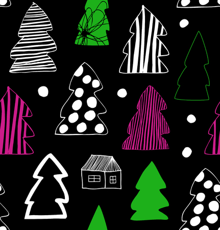 Seamless Christmas winter pattern. Decorative background with spruces, fir-trees. Holiday cartoon design Banco de Imagens - 82074687