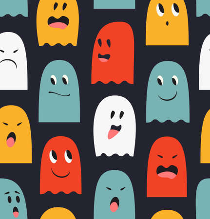 Seamless pattern with cute ghosts. Spooks background. Halloween funny texture