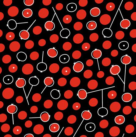 Naadloos patroon met lijsterbessenbessen. Decoratief bloemenmonster op zwarte achtergrond. Herfst stemming