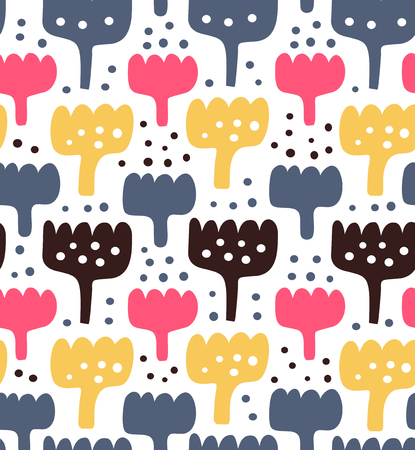 contrast floral: Abstract childish pattern. Vector closed texture