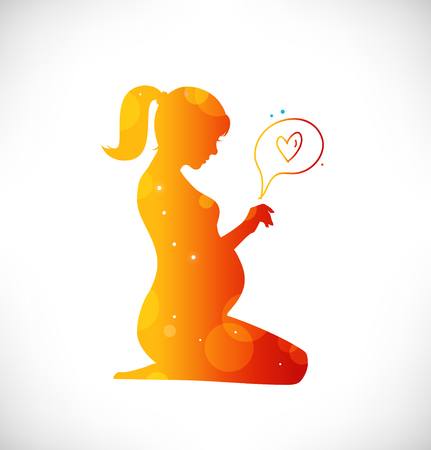 Beautiful pregnant woman silhouette. New born with love. Vector beauty illustration Illustration