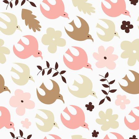 Birdy seamless pattern. Spring decorative texture. Vector nature background with birds and flowers