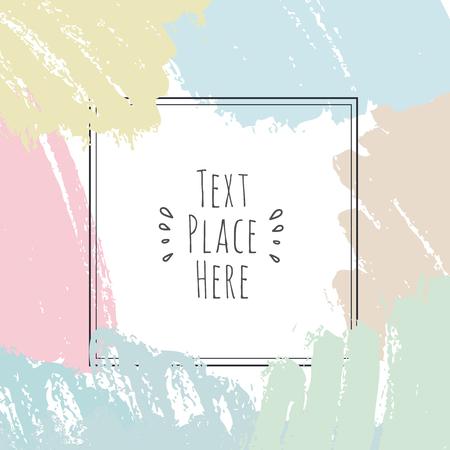 Kaart met inktpenseelstreken en frame voor tekst, vector artistieke ontwerpelementen. Getekende expressieve rand
