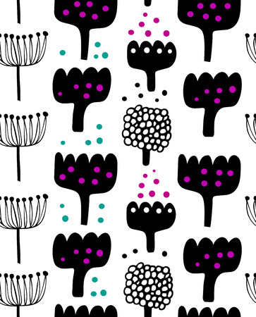 Floral decorative pattern in scandinavian style. Abstract vector background. Graphic texture