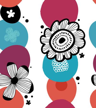 Bloemen kleurrijk decoratief patroon in Skandinavische stijl. Abstracte naadloze achtergrond met gestileerde bloemen