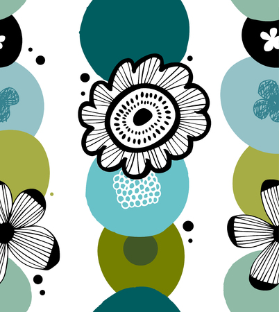 Floral decorative pattern in scandinavian style. Abstract background with stylized flowers Illustration