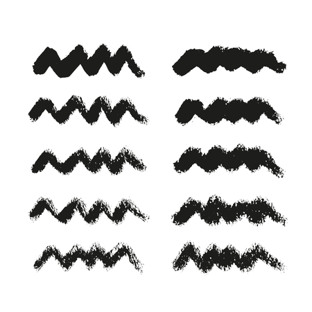Ink strokes collection isolated on white background. Set of watercolor black shapes, hand drawn vector texture