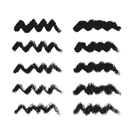 Inkt lijnen collectie geïsoleerd op witte achtergrond. Reeks waterverf zwarte vormen, hand getrokken vectortextuur