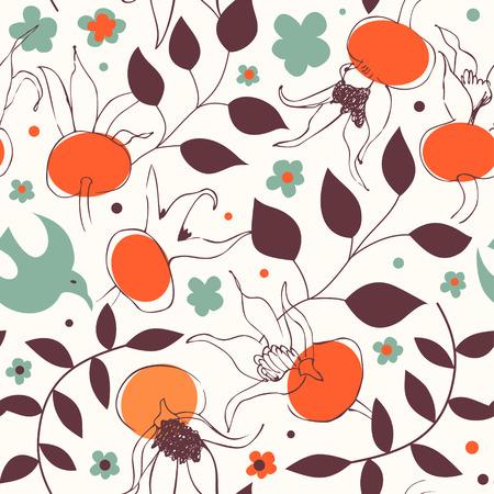 Naadloos kleurrijk grafisch patroon. Vector decoratieve textuur. Bloemenachtergrond met hondrozen
