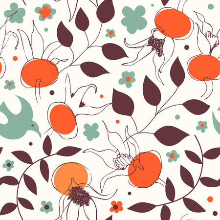 Seamless colorful graphic pattern. Vector decorative texture. Floral background with dog roses Illustration