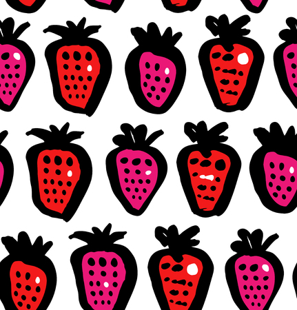 Seamless floral background with berries. Endless fabric texture. Decorative drawing pattern Ilustração