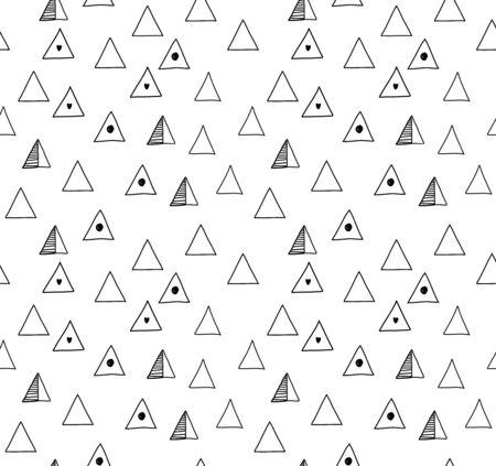 Naadloos minimalistisch patroon met zwarte driehoeken. Vector abstracte getrokken achtergrond, decoratieve textuur