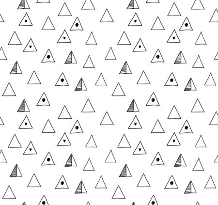Seamless minimalistic pattern with black triangles. Vector abstract drawn background, decorative texture Ilustração