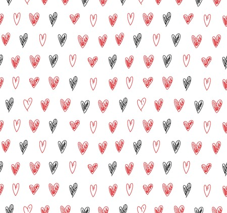 Seamless minimalistic pattern with hand-drawn hearts. Vector abstract grunge texture