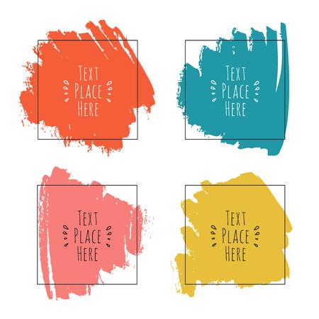 Reeks met inkt kleurrijke penseelstreken en kaders voor tekst, vector artistieke ontwerpelementen