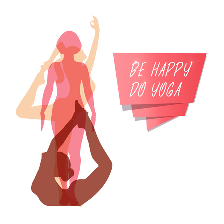 Vector banner with women in the yoga poses. Set of female silhouettes. Relax and meditate. Healthy lifestyle border