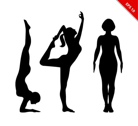 Vector contourinzameling van vrouwen in de yoga stelt. Set van vrouwelijke silhouetten. Ontspan en mediteer. Gezonde wellnesslevensstijl