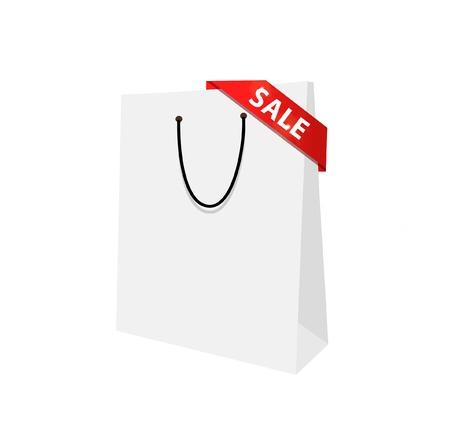 Vector template for web banner, sale border, shopping. White isolated bag. Advertising banner Illustration
