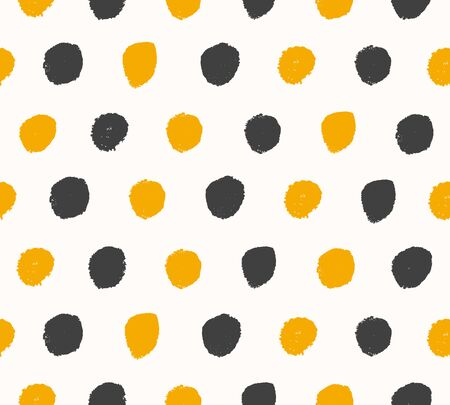 Watercolor black and golden background. Paint dotted texture. Handdrawn vector pattern with round brushstrokes