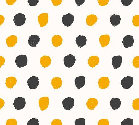 Waterverf zwarte en gouden achtergrond. Verf gestippelde textuur. Handgetekende vector patroon met ronde penseelstreken
