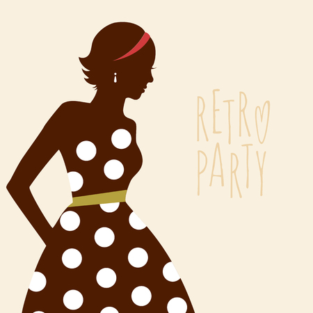 Beauty girl silhouette in retro dress. Retro banner with young lady