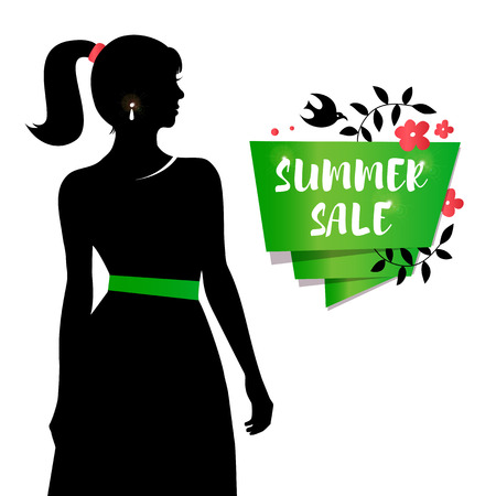 Beauty girl silhouette in retro dress. Sale summer banner with young attractive woman