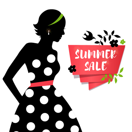 Beauty girl silhouette in retro dress. Sale summer banner with young lady