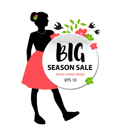 Beauty girl silhouette. Sale season banner with young stylish woman Illustration