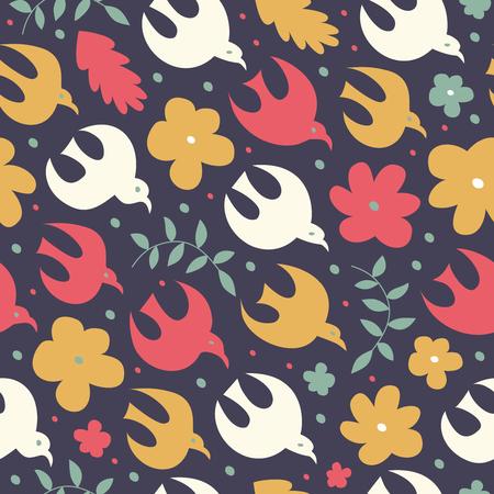 Birdy naadloos patroon. Leuke decoratieve textuur. Vectoraardachtergrond met vogels en bloemen