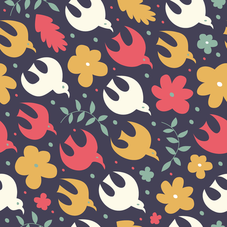 Birdy seamless pattern. Cute decorative texture. Vector nature background with birds and flowers