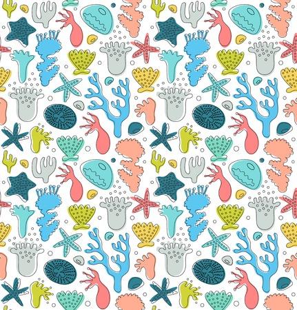 Koraalriffen schattig naadloze patroon, decoratieve getekende achtergrond, vector Nautische textuur, Sealife