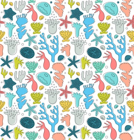 Coral reefs cute seamless pattern, decorative drawn background, vector nautic texture, sealife Illustration